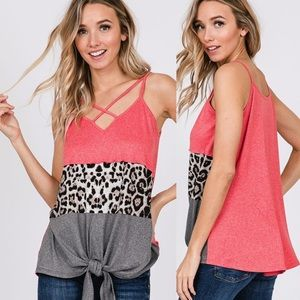 Leopard Print Coral Tie Front Strappy Tank Top!